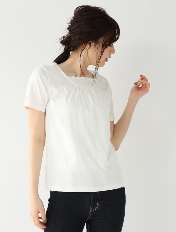 胸元レース使いTシャツ