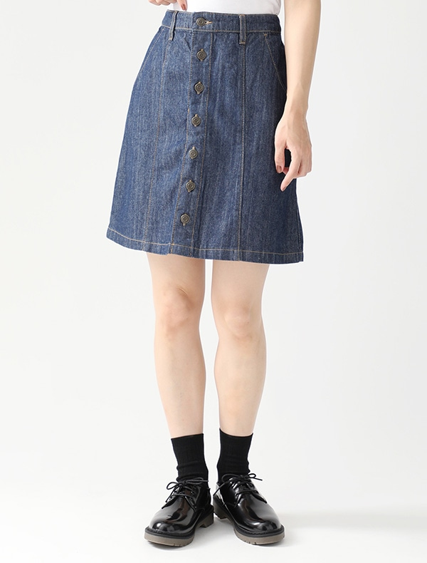 デニム前釦台形スカート