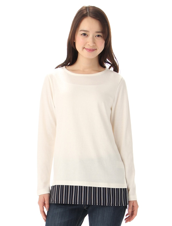 Honeys (ハニーズ) 【CINEMA CLUB】 裾異素材Tシャツ