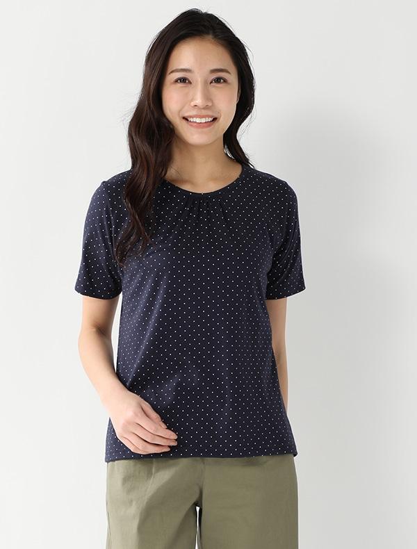 総柄ギャザーTシャツ