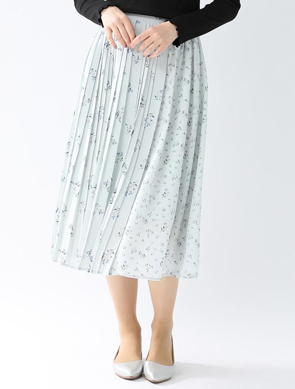 異柄切替花柄スカート