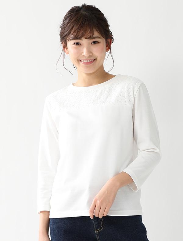 8分袖レース切替Tシャツ