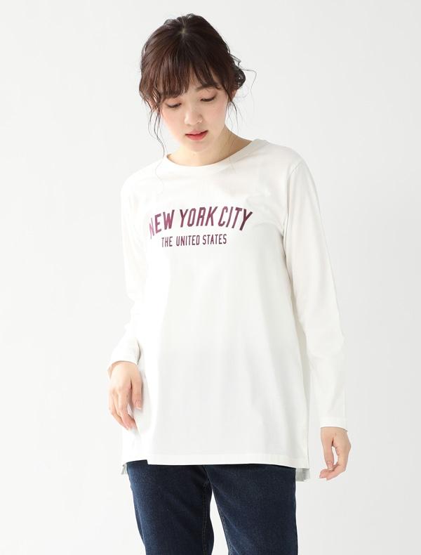 チュニック丈ロゴTシャツ
