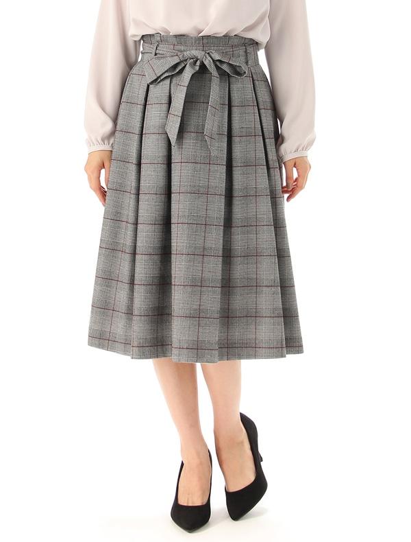 共リボン付フレアスカート