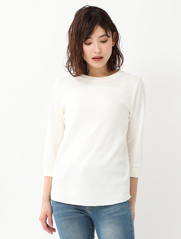 7分袖ワッフルTシャツ