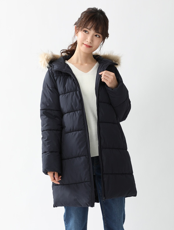 ファー付中綿ロングコート