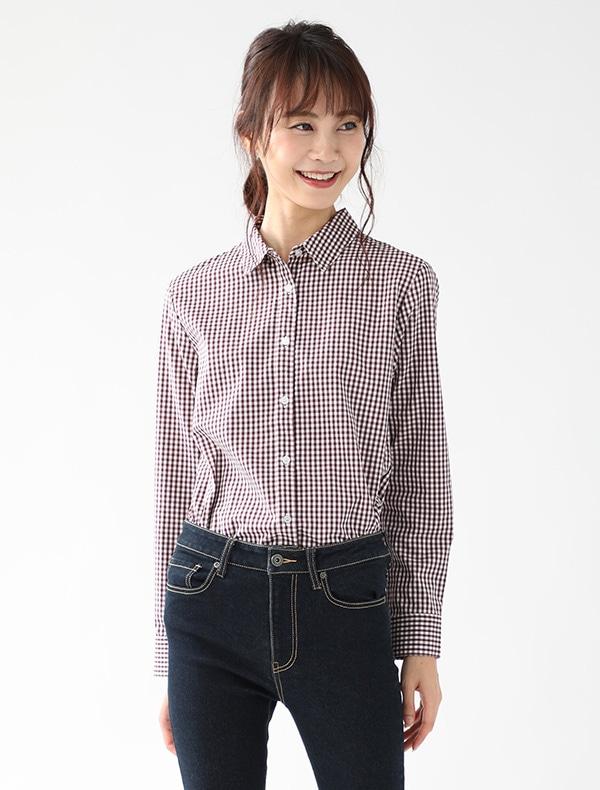 形態安定チェックシャツ