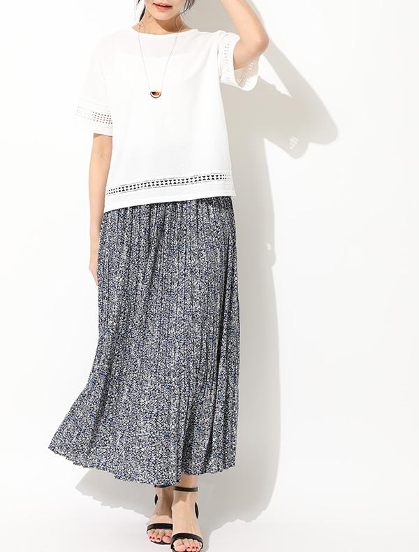 小花プリーツスカート