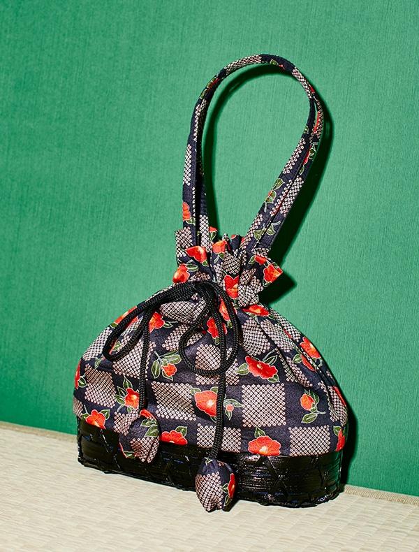 カゴ付き巾着Bag(黒)