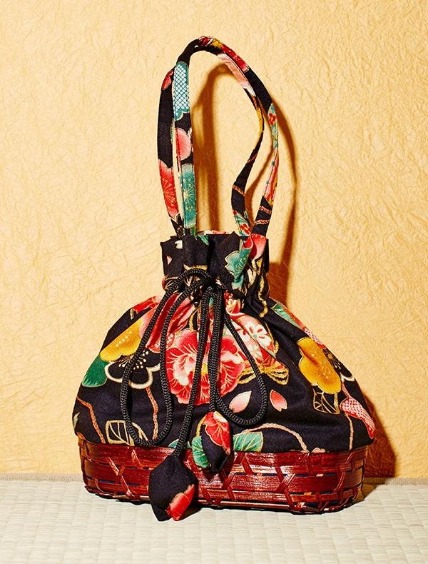 カゴ付き巾着Bag(茶)