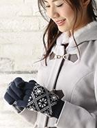 花柄5指ニット手袋