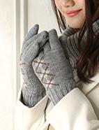 アーガイル柄5指ニット手袋