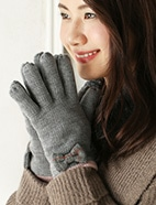 バイカラーリボン付手袋