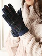 リボン付チェック柄手袋