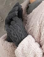 ケーブル柄ニット手袋