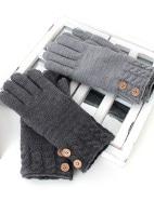 裾ケーブル柄釦付ニット手袋