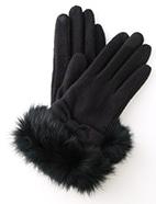 リアルファー付リボン手袋