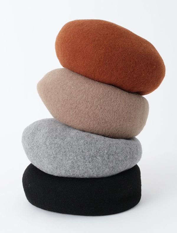 ウール圧縮ニットベレー帽