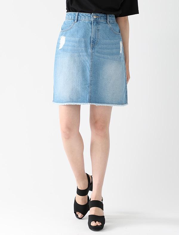 デニム台形スカート