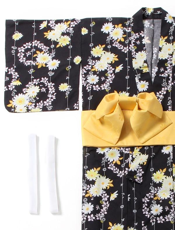 浴衣クロ花柄