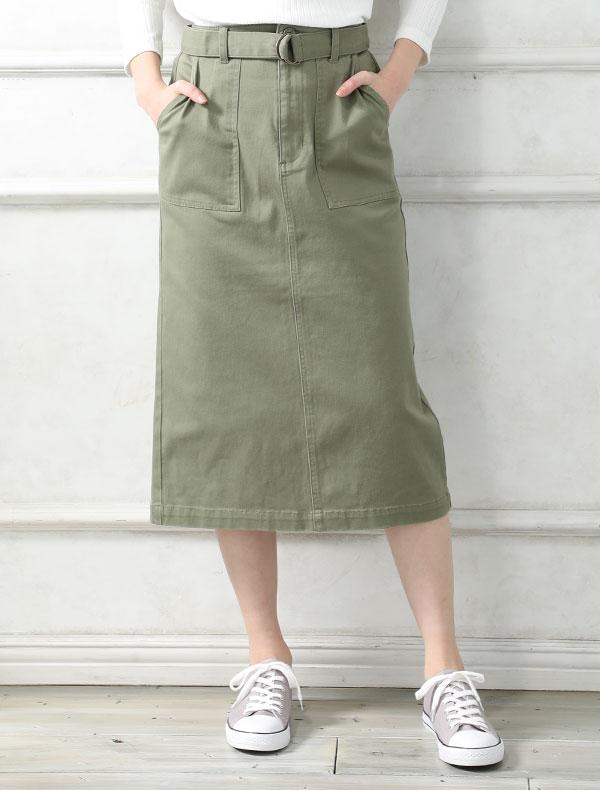 ベルト付ナロースカート