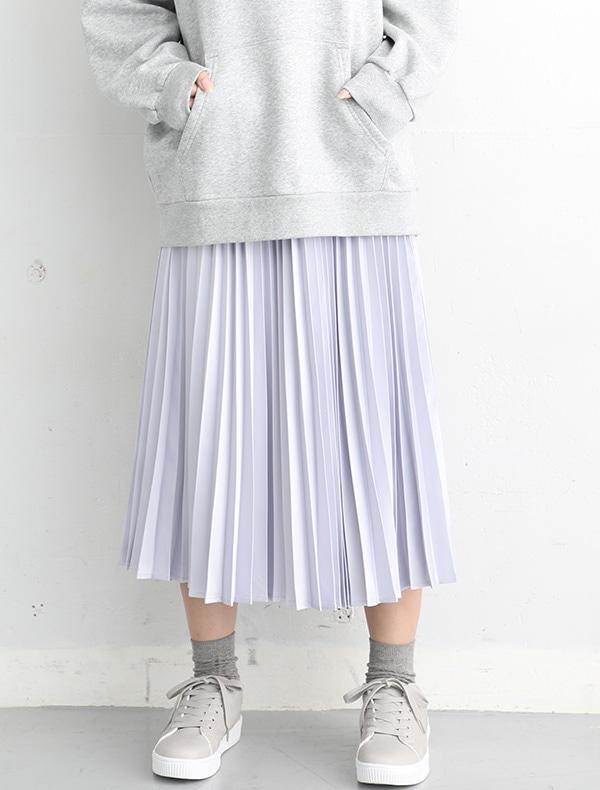 サテンプリーツスカート【WEB限定LLサイズ有】