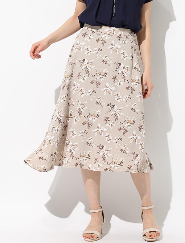 釦使い花柄フレアスカート