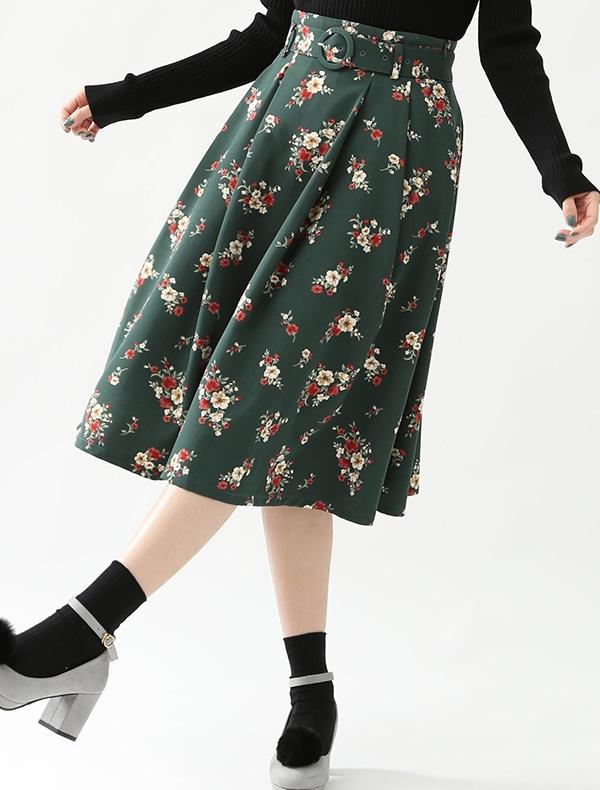 共ベルト付フレアスカート