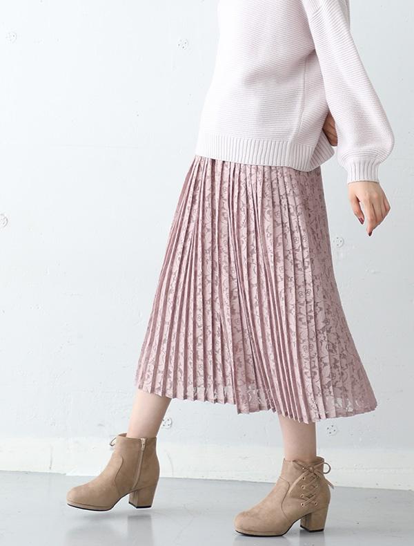レースプリーツスカート【WEB限定LLサイズ有】