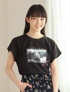 刺繍使いプリントTシャツ