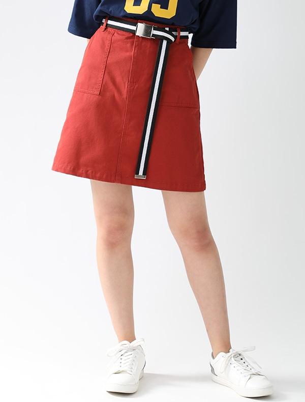 ベルト付台形スカート