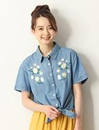 刺繍使いデニムシャツ