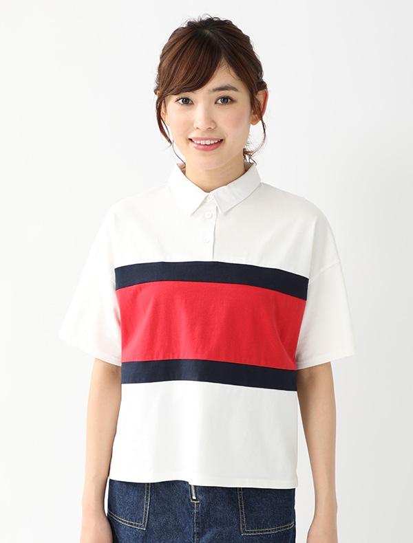 配色ラガーシャツ