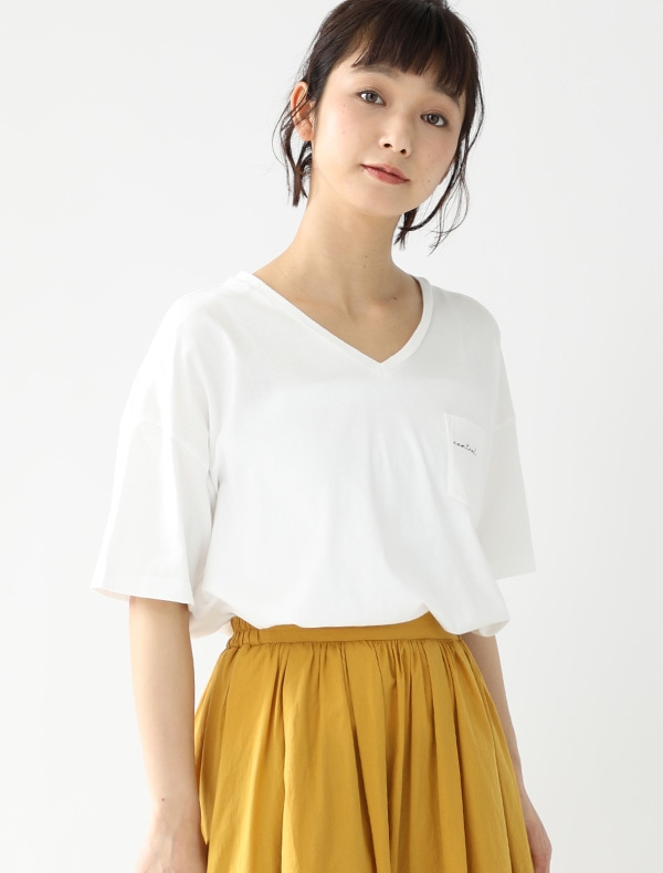 ポケット付ロゴTシャツ