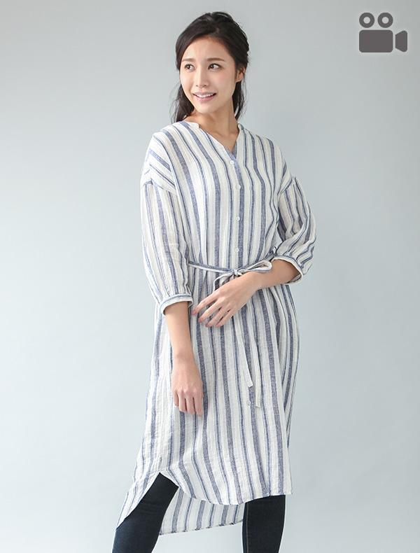 マオカラーシャツワンピ【WEB限定LLサイズ有】